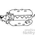 black white cartoon hot dog dachshund