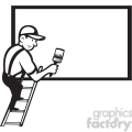 black and white worker painting billboard blank
