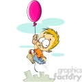little boy floating away on a balloon