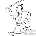 black and white cartoon samuri with sword side