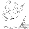 cartoon fish jumping out of water in black and white  gif, png, jpg, eps, svg, pdf