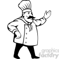 chef holding out his hand black white clip art