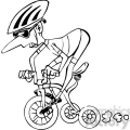cartoon racer on tricycle black and white