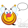 5582 royalty free clip art cute honey bee cartoon mascot character with speech bubble  gif, png, jpg, eps, svg, pdf