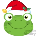5654 royalty free clip art cute frog smiling head with santa hat  gif, png, jpg, eps, svg, pdf
