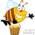 5577 royalty free clip art smiling bee flying with a honey bucket and waving for greeting