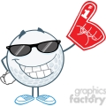 5747 Royalty Free Clip Art Smiling Golf Ball With Sunglasses And Foam Finger