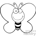 5611 Royalty Free Clip Art Smiling Butterfly Cartoon Mascot Character