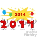 5668 Royalty Free Clip Art 2014 Year Cartoon Character With Stars And Balloons