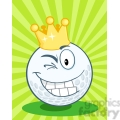 5712 Royalty Free Clip Art Happy Golf Ball Cartoon Character With Gold Crown Winking