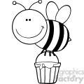 5601 Royalty Free Clip Art Smiling Bee Flying With A Honey Bucket