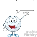 5715 Royalty Free Clip Art Happy Golf Ball Cartoon Character Waving For Greeting With Speech Bubble