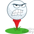 5708 Royalty Free Clip Art Angry Golf Ball Over Tee