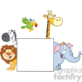 5635 Royalty Free Clip Art Safari Animals Behind A Blank Sign