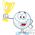 5736 Royalty Free Clip Art Happy Golf Ball Holding First Prize Trophy Cup