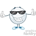 5740 Royalty Free Clip Art Smiling Golf Ball With Sunglasses Giving A Thumb Up