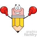 5932 Royalty Free Clip Art Smiling Pencil Cartoon Character Wearing Boxing Gloves