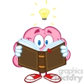 5841 Royalty Free Clip Art Smiling Brain Cartoon Character Reading A Book Under Light Bulb