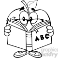 5956 royalty free clip art smiling apple teacher character reading a book  gif, png, jpg, eps, svg, pdf