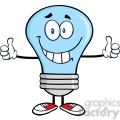 6068 Royalty Free Clip Art Smiling Blue Light Bulb Cartoon Character Giving A Double Thumbs Up
