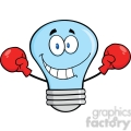 6131 Royalty Free Clip Art Smiling Blue Light Bulb Cartoon Character Wearing Boxing Gloves