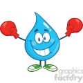 6231 Royalty Free Clip Art Smiling Water Drop Character With Boxing Gloves