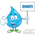 6238 Royalty Free Clip Art Water Drop Character Holding Up A Blank Sign With Text