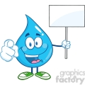 Water Drop Character Holding Up A Blank Sign