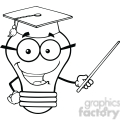 6156 Royalty Free Clip Art Smiling Light Bulb Teacher Character With A Pointer