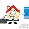 6454 Royalty Free Clip Art Smiling House Businessman Carrying A Briefcase And Showing A Euro Bill