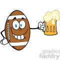 6590 Royalty Free Clip Art Smiling American Football Ball Cartoon Character Holding A Beer