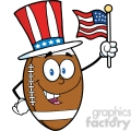 6577 Royalty Free Clip Art American Football Ball Cartoon Mascot Character With American Patriotic Hat And USA Flag