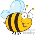 6544 Royalty Free Clip Art Cute Bee Cartoon Mascot Character