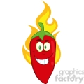 6771 Royalty Free Clip Art Smiling Red Chili Pepper Cartoon Mascot Character On Fire