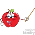 6509 Royalty Free Clip Art Smiling Apple Teacher Character With A Pointer