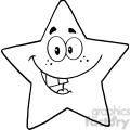 6715 Royalty Free Clip Art Black and White Smiling Star Cartoon Mascot Character