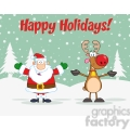 6668 Royalty Free Clip Art Holiday Greetings With Santa Claus And Rudolph Reindeer