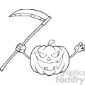 6637 Royalty Free Clip Art Back And White Scaring Halloween Pumpkin With A Scythe Cartoon Illustration