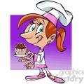 young female baker with cupcake