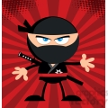 Royalty Free RF Clipart Illustration Angry Ninja Warrior Cartoon Character Flat Design Over Red Background