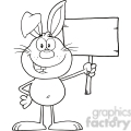Royalty Free RF Clipart Illustration Black And White Funny Rabbit Cartoon Character Holding A Wooden Board