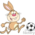 royalty free rf clipart illustration cute brown rabbit cartoon character playing with soccer ball  gif, png, jpg, eps, svg, pdf