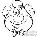 Royalty Free RF Clipart Illustration Black and White Funny Clown Head Cartoon Character