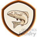 rainbow trout jumping up in shield shape  gif, png, jpg, eps, svg, pdf