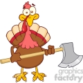 6890_royalty_free_clip_art_turkey_with_axe_cartoon_mascot_character  gif, png, jpg, eps, svg, pdf