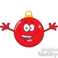 Royalty Free RF Clipart Illustration Happy Red Christmas Ball Cartoon Mascot Character With Open Arms