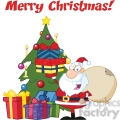 Royalty Free RF Clipart Illustration Merry Christmas Greeting With Santa Claus Holding Up A Stack Of Gifts By A Christmas Tree