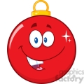 Royalty Free RF Clipart Illustration Happy Red Christmas Ball Cartoon Mascot Character