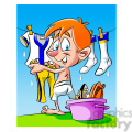vector cartoon guy hanging clothes to dry on a clothesline  gif, png, jpg, eps, svg, pdf