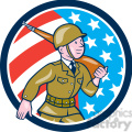 soldier marching rifle USA FLAG CIRC